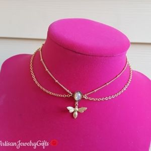 Layered Gold Bee Antique Opal Necklace